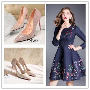 Quelle chaussure avec une robe longue bleue
